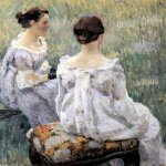 Victor Borisov-Musatov (1870-1905)  Two Ladies. Sketch.  Oil on canvas, 1899-1900  The Russian Museum, St. Petersburg, Russia