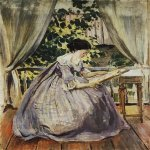 Victor Borisov-Musatov (1870-1905)  Lady Embroidering  Tempera on canvas,  1901  The Russian Museum, St. Petersburg, Russia