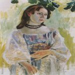 Victor Borisov-Musatov (1870-1905)  Young Girl with a Necklace. Study  Oil on canvas, 1904  Private collection