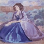 Victor Borisov-Musatov (1870-1905)  The lady in a crinoline. Sketch for the painting