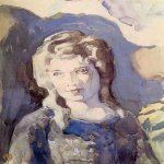 Victor Borisov-Musatov (1870-1905)  Lady in blue  Watercolor, whitewash, 1904-1905  40,3 x 29,5 �m  The Russian Museum, St. Petersburg, Russia