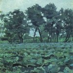 Victor Borisov-Musatov (1870-1905)  Cabbage Field with Willows  Oil on canvas, mounted on cardboard, 1893-94  The Tretyakov Gallery, Moscow, Russia