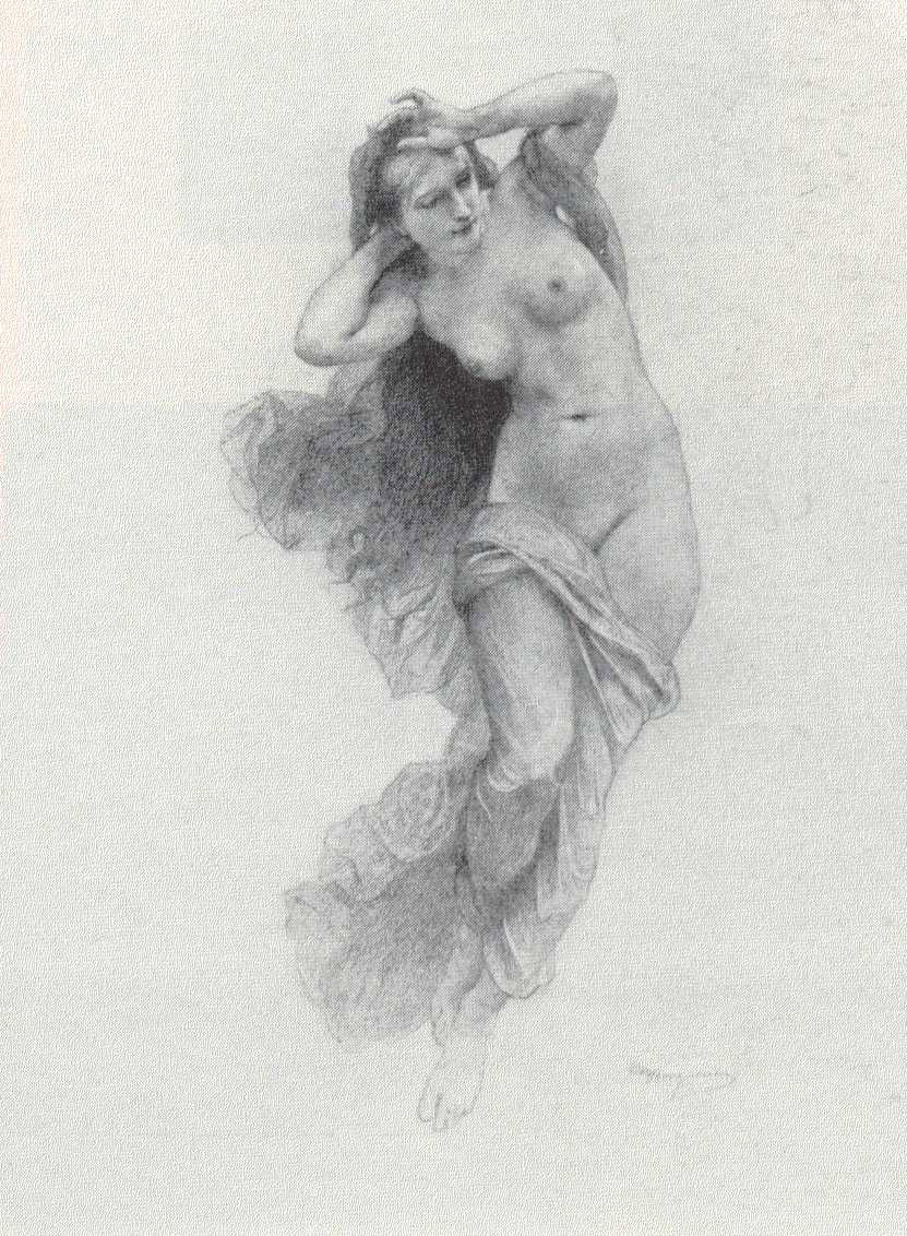 William bouguereau 1825 1905 sketch for night pencil on paper private collection