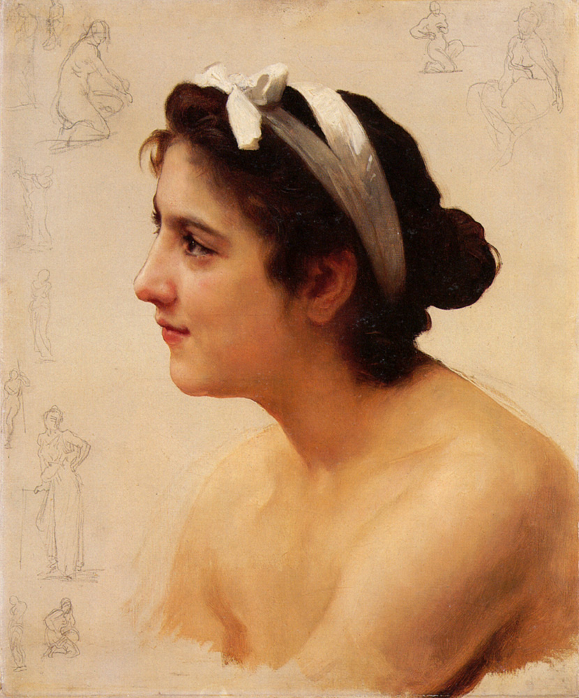William Bouguereau (1825-1905)   Étude d'une femme, pour Offrande à l'Amour [Study of a woman, for Offering to Love]  Oil on canvas  Private collection