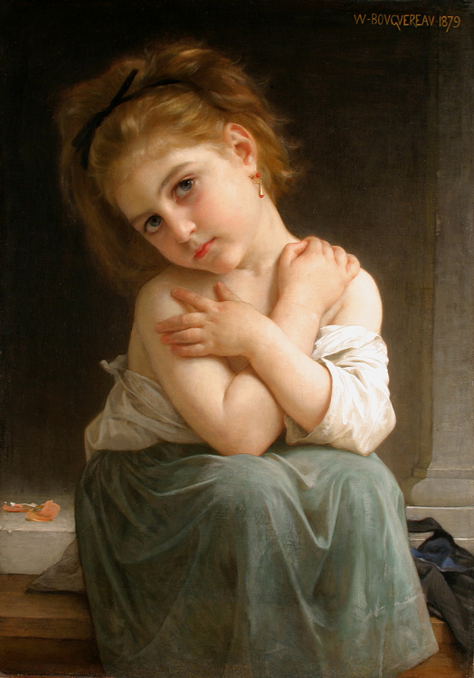 William Bouguereau (1825-1905)  La frileuse [Chilly girl]  Oil on canvas, 1879  Public collection