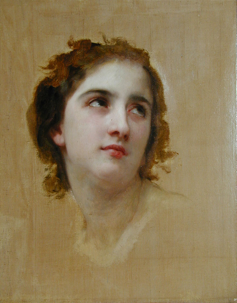 William Bouguereau (1825-1905)  Sketch of a Young Woman  Oil on canvas  15 x 18 inches (38.10 x 45.72 cm)  Collection of Fred and Sherry Ross
