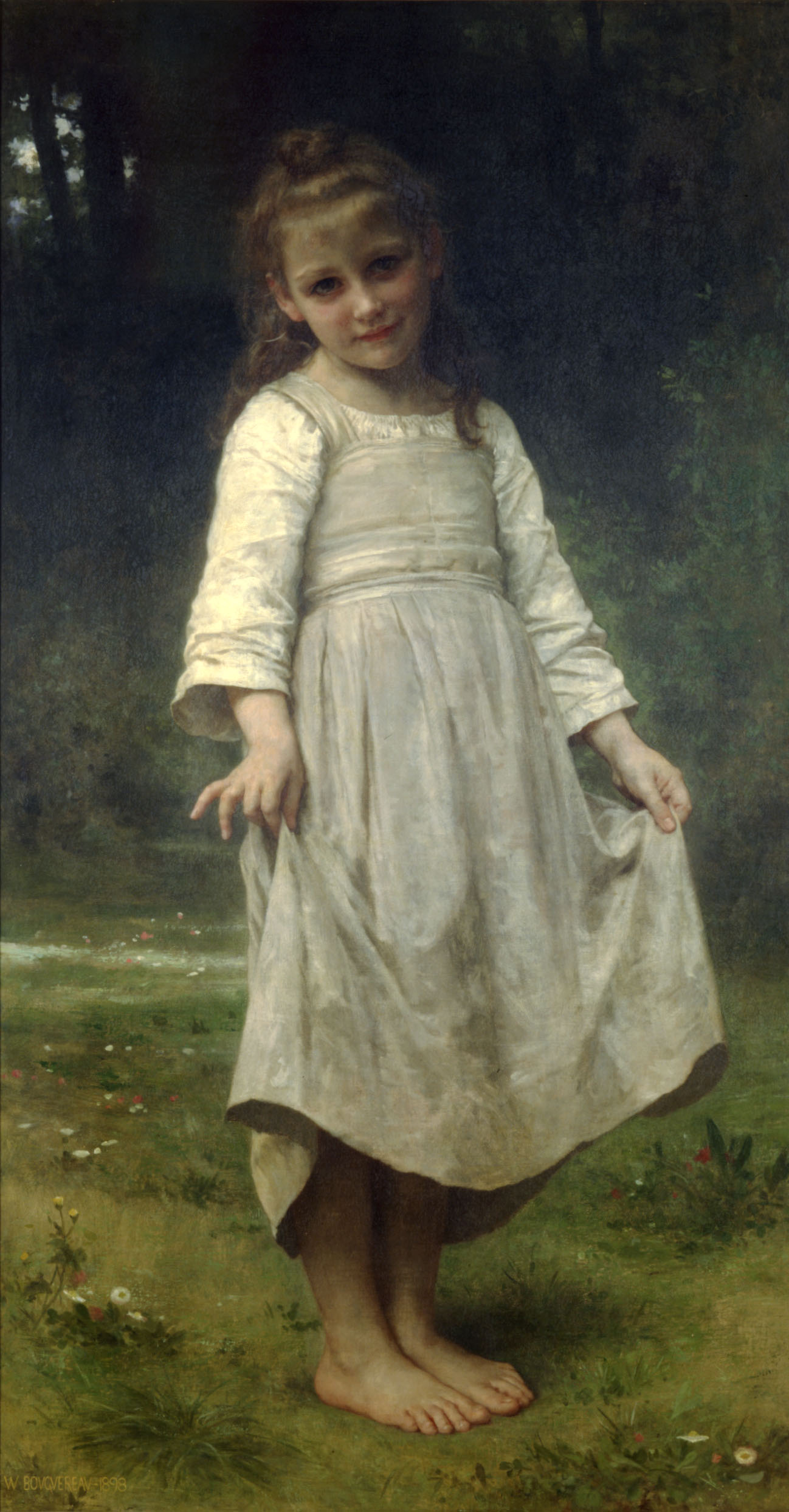 William Bouguereau (1825-1905)   La révérence [The curtsey]  Oil on canvas, 1898  54 1/4 x 29 1/4 inches (138 x 74.5 cm)  Private collection