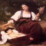 William Bouguereau (1825-1905)  Berceuse [Lullaby]  Oil on canvas mounted on panel, 1875  35 1/8 x 25 1/8 inches (89.5 x 64.1 cm)  Private collection