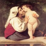 William Bouguereau (1825-1905)  Le Baiser [The Kiss]  Oil on canvas, 1863  44 3/4 x 34 inches (113.7 x 86.4 cm)  Private collection