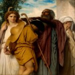 William Bouguereau (1825-1905)  Tobias Saying Goodbye to his Father  Oil on canvas, 1860  Public collection