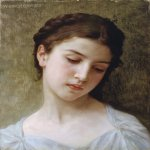William Bouguereau (1825-1905)  �tude : t�te de jeune fille [Study : head of a young girl]  Oil on canvas, 1898  Private collection