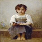 William Bouguereau (1825-1905)   La leçon difficile[The difficult lesson]  Oil on canvas, 1884  38 1/2 x 25 7/8 inches (97.8 x 66 cm)  Private collection