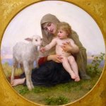 William Bouguereau (1825-1905)   La Vierge à L'agneau[Virgin and Lamb]  Tondo / Oil on canvas, 1903  Private collection