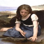 William Bouguereau (1825-1905)  Le crabe [The Crab]  Oil on canvas, 1869  31 7/8 x 25 3/4 inches (81 x 65.5 cm)  Private collection