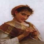 William Bouguereau (1825-1905)  Jeune fille au crochet [Young girl crocheting]  Oil on canvas, 1889  24 x 18 1/4 inches (61 x 46.4 cm)  Private collection