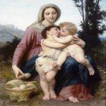 William Bouguereau (1825-1905)  Sainte Famille [The Holy Family]  Oil on canvas, 1863  53 7/8 x 42 1/2 inches (137 x 108 cm)  Private collection