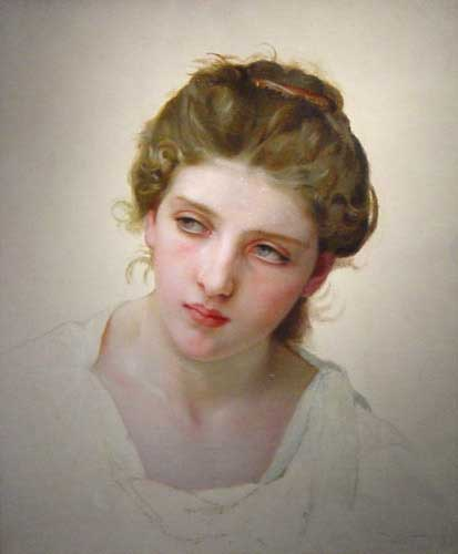 William Bouguereau (1825-1905)   Étude de Tête de Femme Blonde de Face [Study of the Head of a Blonde Woman]  Oil on canvas, 1898  Public collection