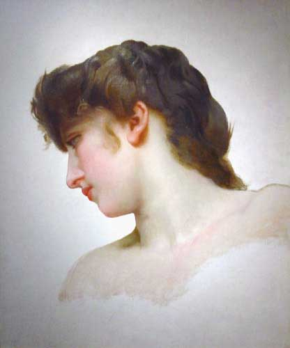 William Bouguereau (1825-1905)   Étude de Tête de Femme Blonde Profil  [Study of a Blonde Woman's Profile]  Oil on canvas  Public collection