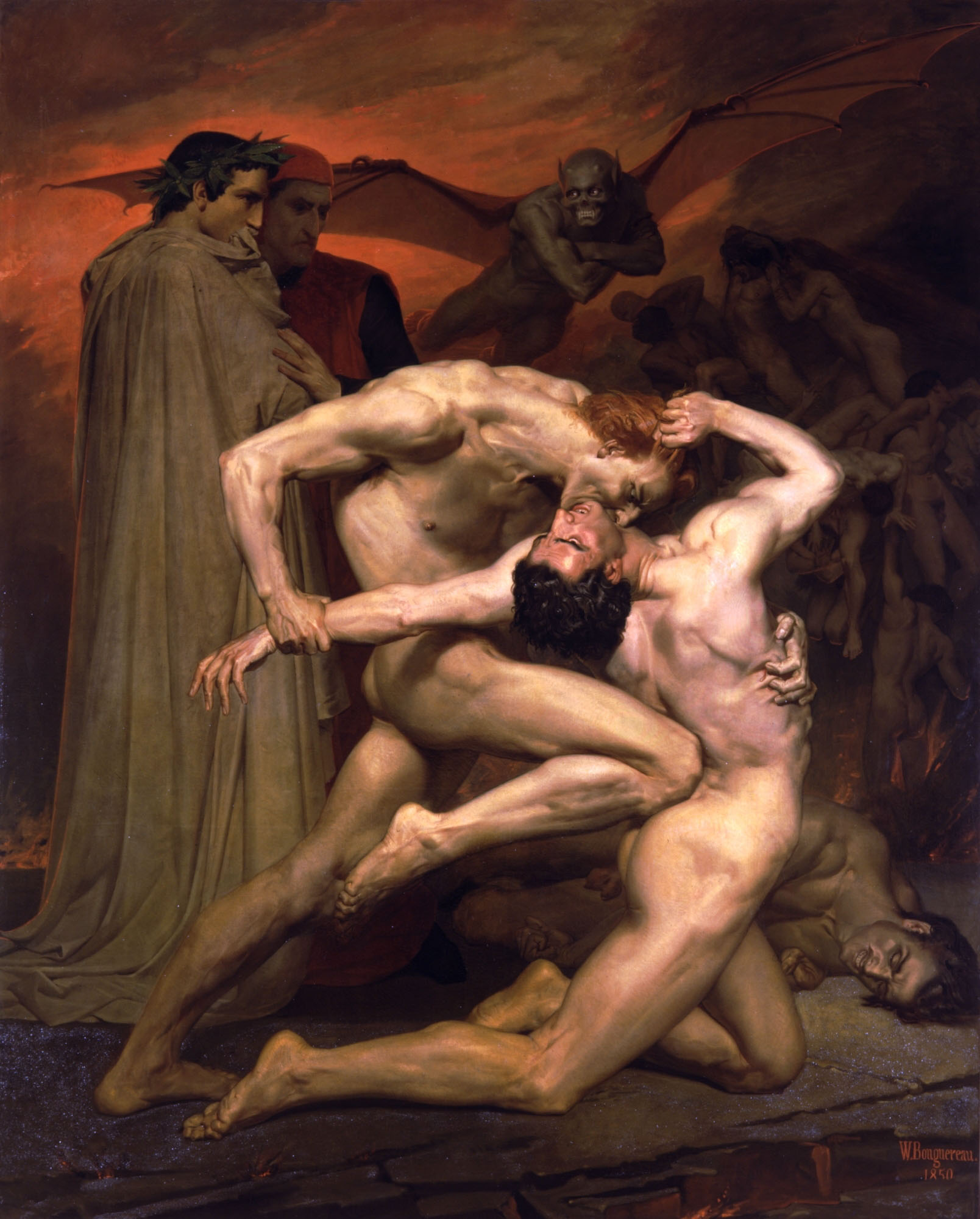 William Bouguereau (1825-1905)  Dante et Virgile au Enfers [Dante and Virgil in Hell]  Oil on canvas, 1850  110 5/8 x 88 1/2 inches (281 x 225 cm)  Private collection