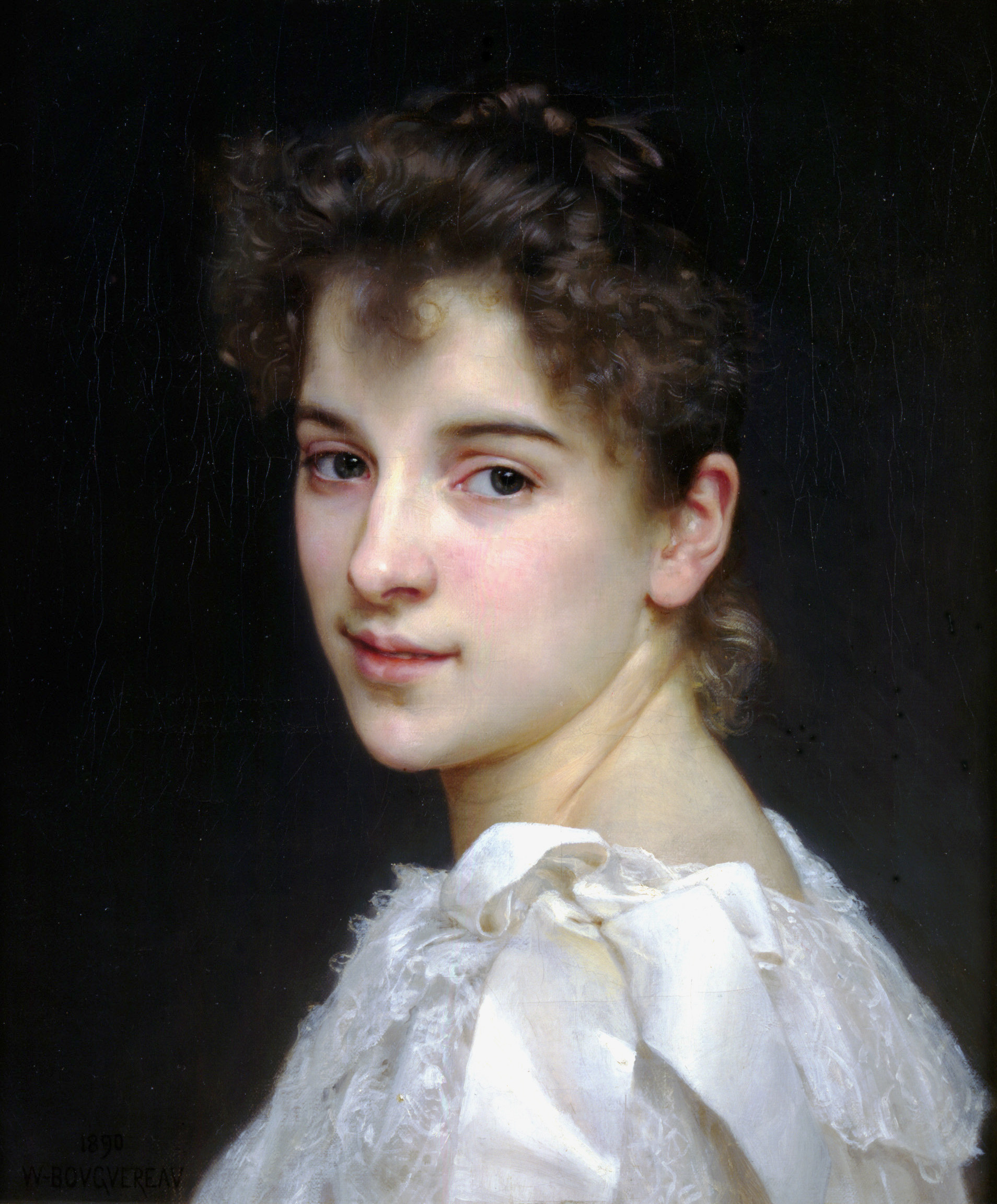 William Bouguereau (1825-1905)  Portrait de Gabrielle Cot [Portrait of Gabrielle Cot]  Oil on canvas, 1890  17 7/8 x 14 7/8 inches (45.5 x 38 cm)  Collection of Fred and Sherry Ross