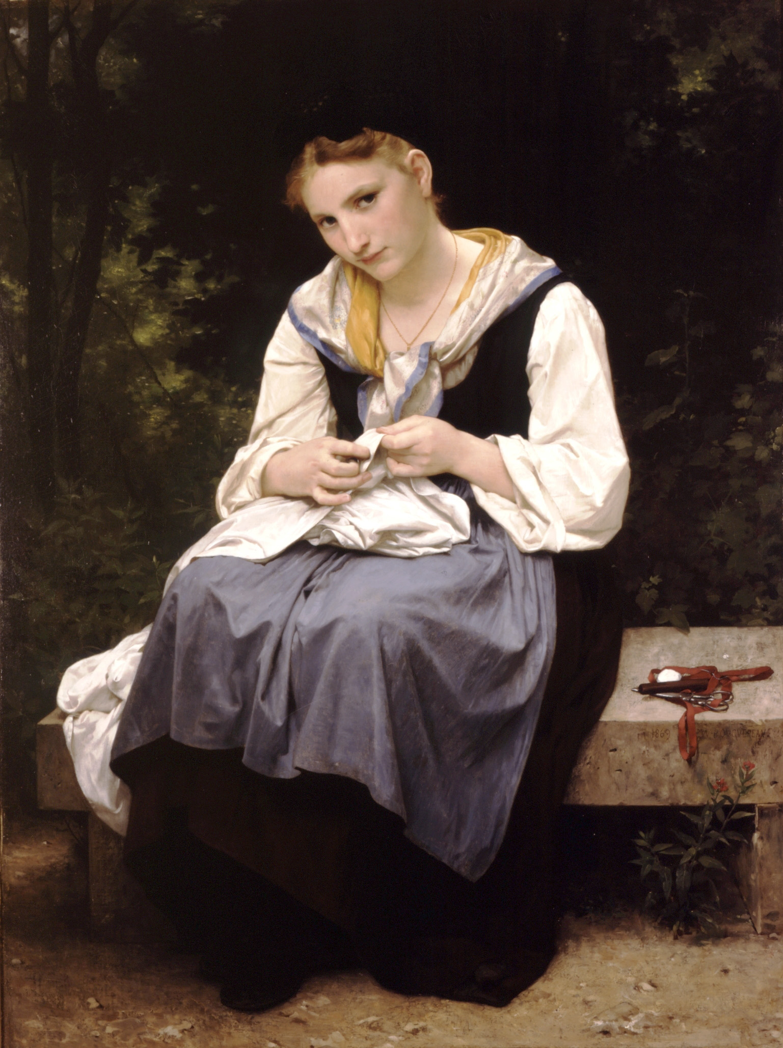 William Bouguereau (1825-1905)  Jeune Ouvriere [Young Worker]  Oil on canvas, 1869  50 3/4 x 37 7/8 inches (129 x 96.5 cm)  Private collection