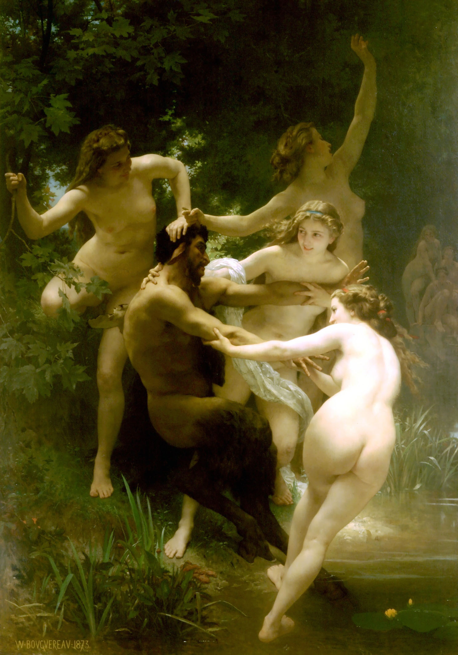 William Bouguereau (1825-1905)  Nymphes et Satyre [Nymphs and Satyr]  Oil on canvas, 1873  102 1/4 x 70 3/4 inches (260 x 180 cm)  Sterling and Francine Clark Art Institute, Williamstown