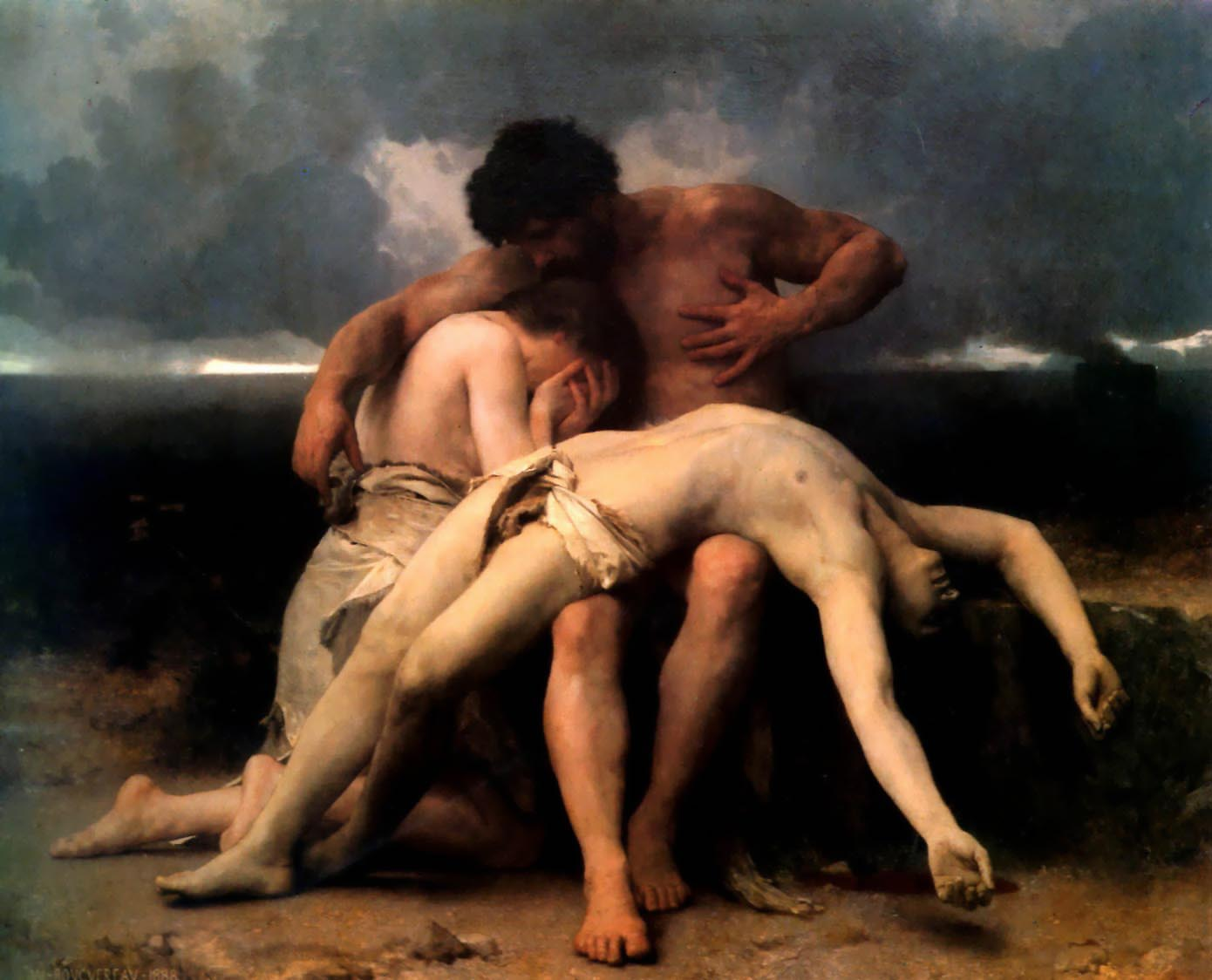William Bouguereau (1825-1905)  Premier Deuil [The First Mourning]  Oil on canvas, 1888  79 7/8 x 99 1/8 inches (203 x 252 cm)  Museo Nacional de Bellas Artes, Buenos Aires