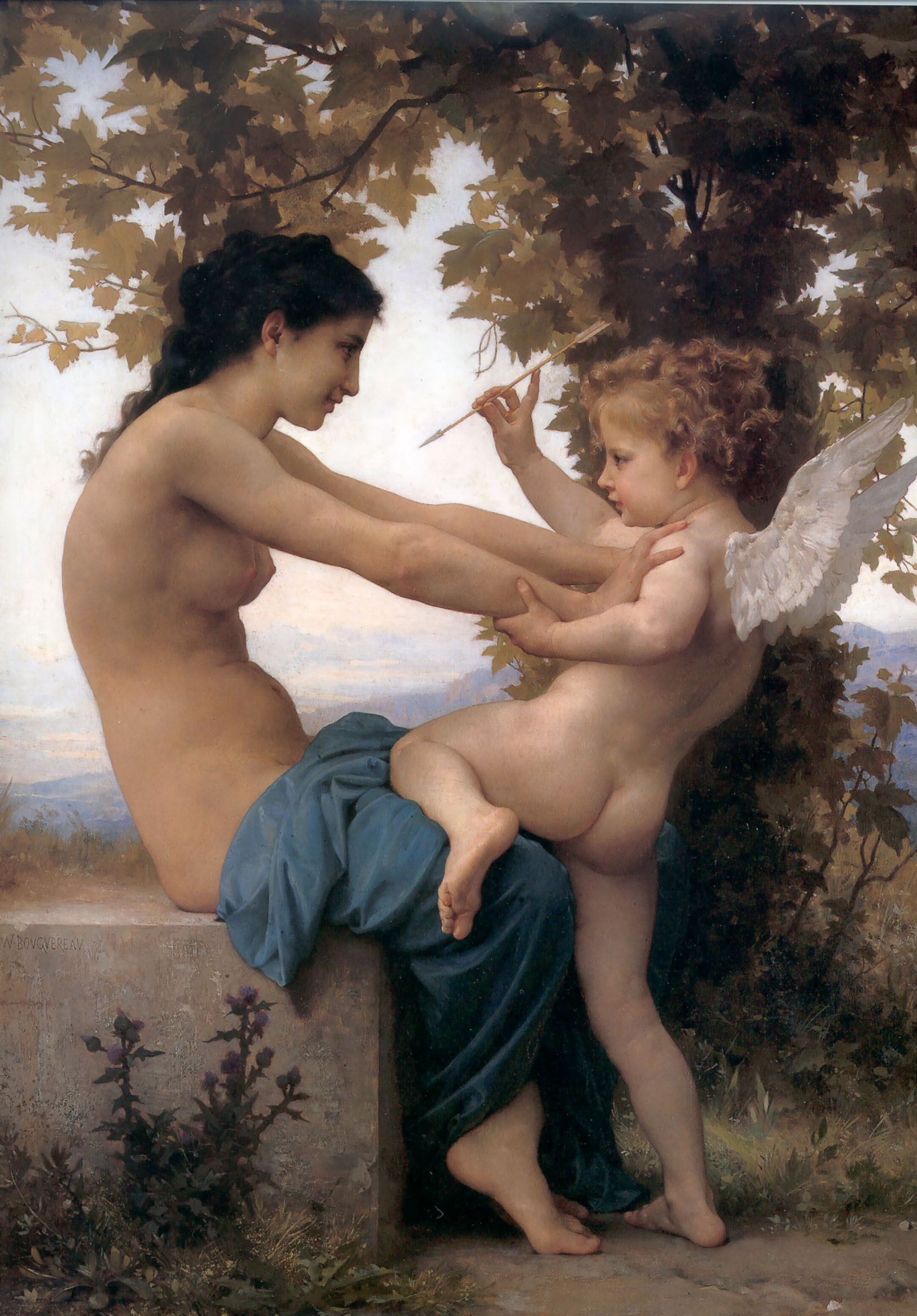 William Bouguereau (1825-1905)  Jeune Fille se Defendant Contre L'amour [Young Girl Defending herself against Cupid]  Oil on canvas, 1880  North Carolina Museum of Art, RaleighOriginal of: Love's Resistance [1885] by William Bouguereau.
