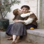 William Bouguereau (1825-1905)  Calinerie [A Little Coaxing]  Oil on canvas, 1890  57 x 35 3/4 inches (145 x 91 cm)  Private collection