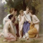 William Bouguereau (1825-1905)  L'admiration [Admiration]  Oil on canvas, 1897  57 3/4 x 78 5/8 inches (147 x 200 cm)  San Antonio Museum of Art, San Antonio