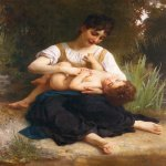 William Bouguereau (1825-1905)  Les joies d'une m�re (jeune fille chatouillant un enfant ) [The Joys of Motherhood (Girl Tickling a Child)]  Oil on canvas, 1878  53 1/2 x 39 3/8 inches (135.9 x 100.3 cm)  Private collection