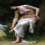 William Bouguereau (1825-1905)  Apr�s le Bain [After the Bath]  Oil on canvas, 1894  61 x 34 inches (155 x 86.5 cm)  Private collection