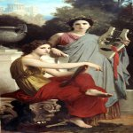 William Bouguereau (1825-1905)  L'art et la Litterature [Art and Literature]  Oil on canvas, 1867  78 5/8 x 42 1/2 inches (200 x 108 cm)  Arnot Art Museum Elmira, New York City
