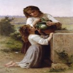 William Bouguereau (1825-1905)  A la Fontaine [At the Fountain]  Oil on canvas, 1897  60 1/8 x 37 inches (153 x 94 cm)  Private collection