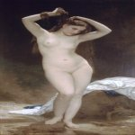 William Bouguereau (1825-1905)  Baigneuse [Bather]  Oil on canvas, 1870  75 x 37 3/8 inches (190.5 x 95 cm)  Gala-Salvador Dali
