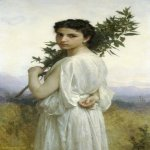 William Bouguereau (1825-1905)  Branche de Laurier [Laurel Branch]  Oil on canvas, 1900  45 3/8 x 27 1/2 inches (115.5 x 70 cm)  Private collection