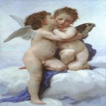 William Bouguereau (1825-1905)  L'Amour et Psyche, enfants [Cupid and Psyche as Children]  Oil on canvas, 1889  47 x 27 7/8 inches (119.5 x 71 cm)  Private collection