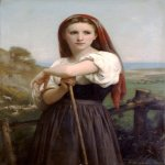 William Bouguereau (1825-1905)  Jeune Bergere [Young Shepherdess]  Oil on canvas, 1868  41 5/8 x 28 1/4 inches (106 x 72 cm)  Private collection