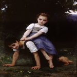 William Bouguereau (1825-1905)  La Bourrique [The Horseback Ride]  Oil on canvas, 1884  39 7/8 x 53 7/8 inches (101.5 x 137 cm)  Berkshire Museum, Pittsfield