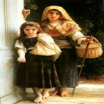 William Bouguereau (1825-1905)  Petites mendiantes [Little beggars]  Oil on canvas, 1890  63 3/8 x 36 3/4 inches (161 x 93.5 cm)  Syracuse University Art Collection, Syracuse