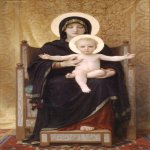 William Bouguereau (1825-1905)  Madone Assise [The Seated Madonna]  Oil on canvas, 1888  69 3/8 x 40 1/2 inches (176.5 x 103 cm)  Art Gallery of South Australia, Adelaide