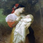 William Bouguereau (1825-1905)  Admiration Maternelle [Maternal Admiration]  Oil on canvas, 1869  45 5/8 x 35 inches (116 x 89 cm)  Private collection