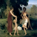 William Bouguereau (1825-1905)  Pastorale [Pastoral]  Oil on canvas, 1868  44 7/8 x 64 1/8 inches (114 x 163 cm)  Private collection