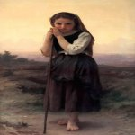 William Bouguereau (1825-1905)  Petite Bergere [Little Shepherdess]  Oil on canvas, 1891  61 1/8 x 34 inches (155.5 x 86.5 cm)  Private collection