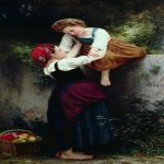 William Bouguereau (1825-1905)  Petites Maraudeuses [Little Thieves]  Oil on canvas, 1872  78 7/8 x 42 7/8 inches (200.5 x 109 cm)  Private collection