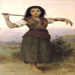 William Bouguereau (1825-1905)  Pastourelle [Shepherdess]  Oil on canvas, 1889  62 1/2 x 36 1/2 inches (159 x 93 cm)  The Philbrook Museum of Art, Tulsa