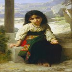 William Bouguereau (1825-1905)  Petite mendiante [The little beggar]  Oil on canvas, 1880  29 x 46 inches (73.66 x 116.84 cm)  Collection of M.S.Rau Antiques