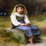 William Bouguereau (1825-1905)  Meditation  Oil on canvas, 1885  51 7/8 x 34 inches (132 x 86.5 cm)  Joslyn Art Museum, Omaha