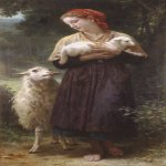 William Bouguereau (1825-1905)   L'agneau nouveau-né[The Newborn Lamb]  Oil on canvas, 1873  65 x 34 3/8 inches (165.1 x 87.6 cm)  The Berkshire Museum, Pittsfield