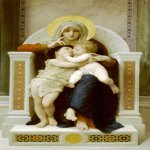 William Bouguereau (1825-1905)  La Vierge, L'Enfant Jesus et Saint Jean Baptiste [The Virgin, the Baby Jesus and Saint John the Baptist]  Oil on canvas, 1875  78 7/8 x 48 inches (200.5 x 122 cm)  Private collection